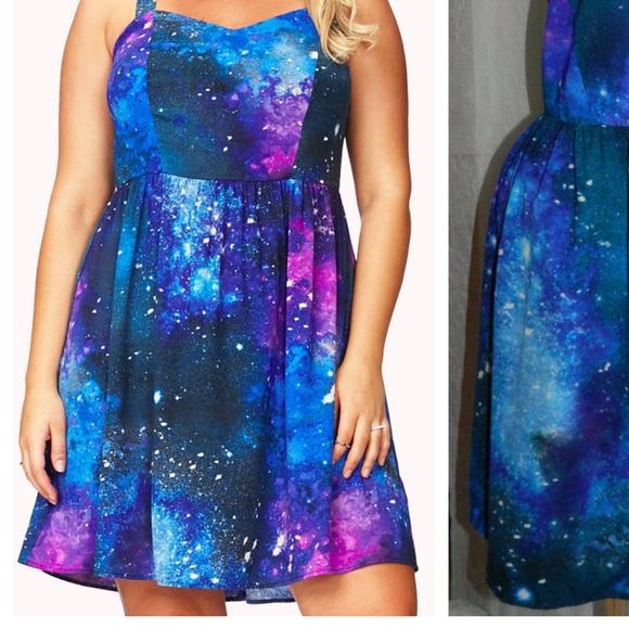 Forever 21 Dresses | Plus Size Galaxy Dress | Poshmark